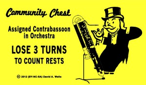 Community Chest Card - Assigned Contrabassoon In Orchestra; Lose 3 Turns to Count Rests