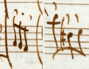 Two types of Vivaldi's articulation marks