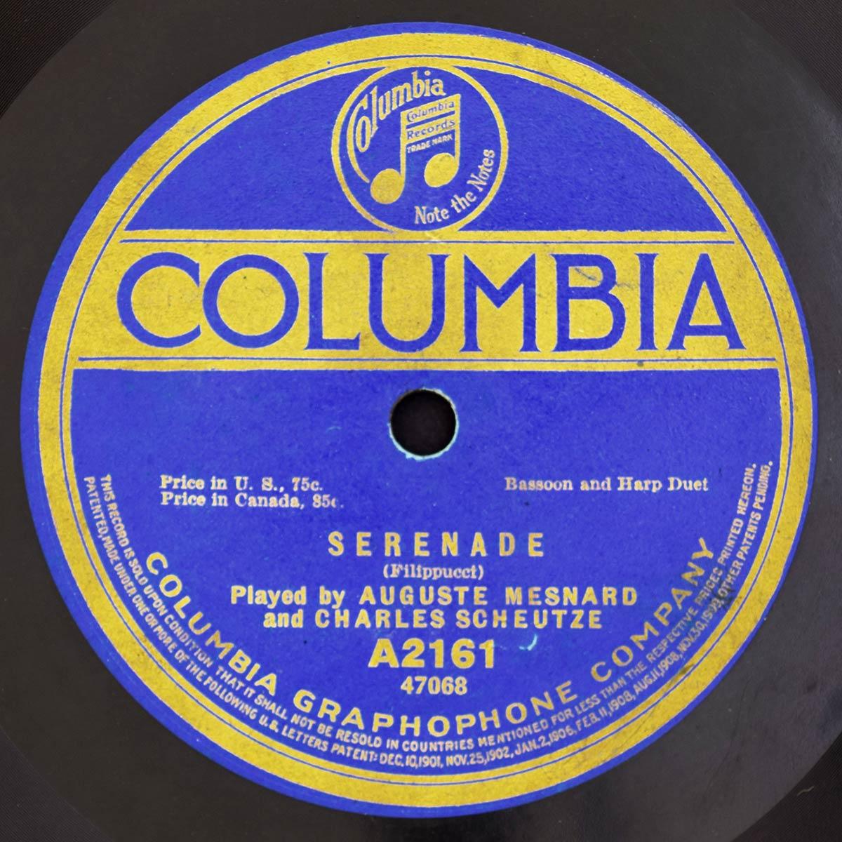 1916 Recording of Auguste Mesnard « David A  Wells, bassoon